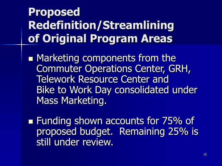 Proposed Redefinition/Streamlining       of Original Program Areas