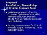 proposed redefinition streamlining of original program areas