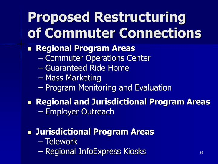Proposed Restructuring of Commuter Connections
