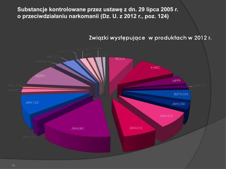 Substancje kontrolowane przez ustawę z dn. 29 lipca 2005 r.               o przeciwdziałaniu narkomanii (Dz. U. z 2012 r., poz. 124)