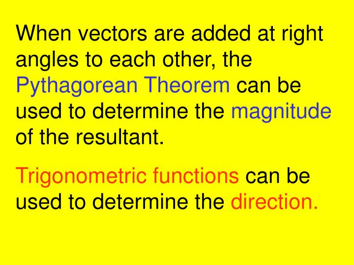 When vectors are added at right angles to each other, the