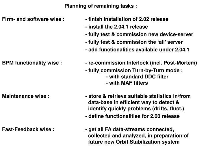 Planning of remaining tasks :