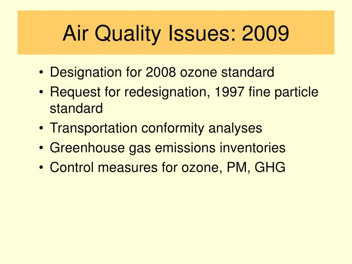 Air Quality Issues: 2009