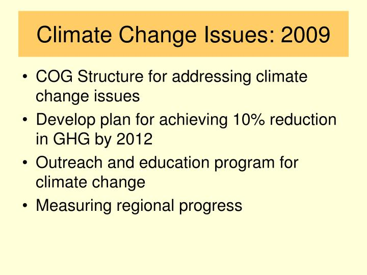 Climate Change Issues: 2009