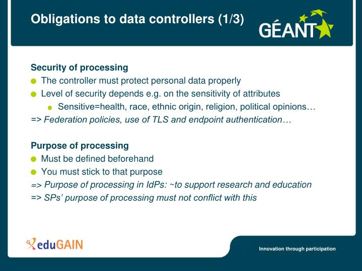 Obligations to data controllers (1/3)
