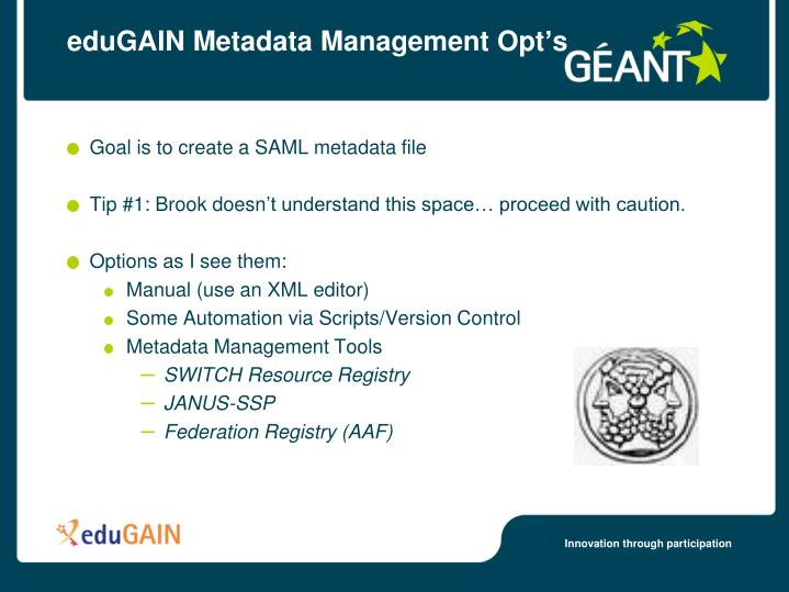 Edugain metadata management opt s