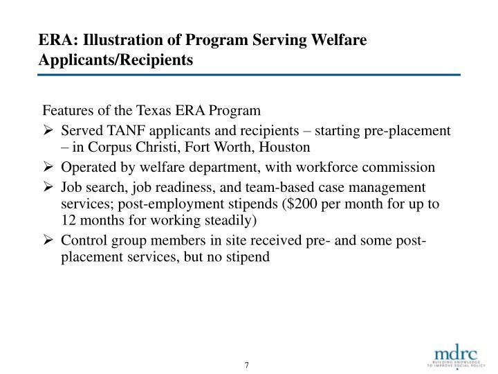 ERA: Illustration of Program Serving Welfare Applicants/Recipients