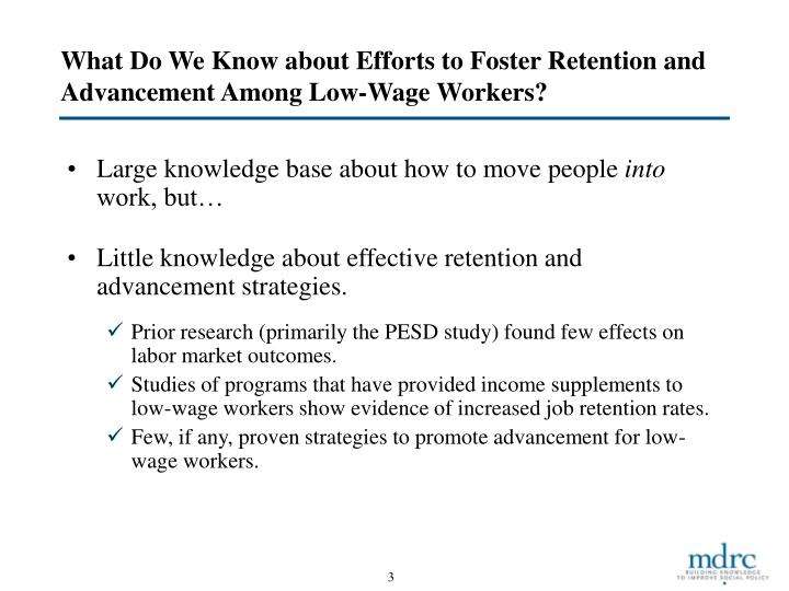 What Do We Know about Efforts to Foster Retention and Advancement Among Low-Wage Workers?
