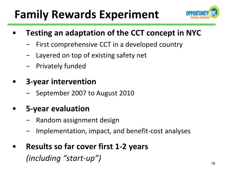 Testing an adaptation of the CCT concept in NYC