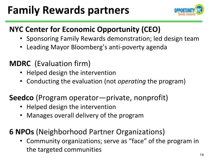 Family Rewards partners