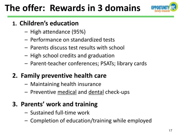 The offer:  Rewards in 3 domains