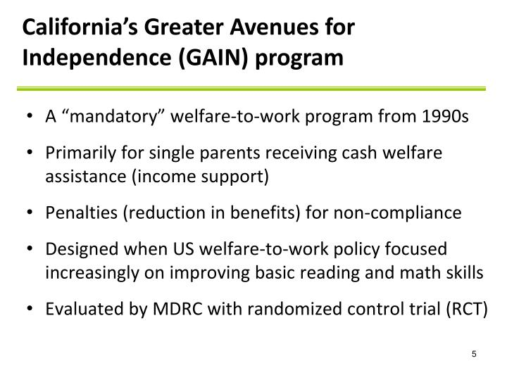 California's Greater Avenues for Independence (GAIN) program