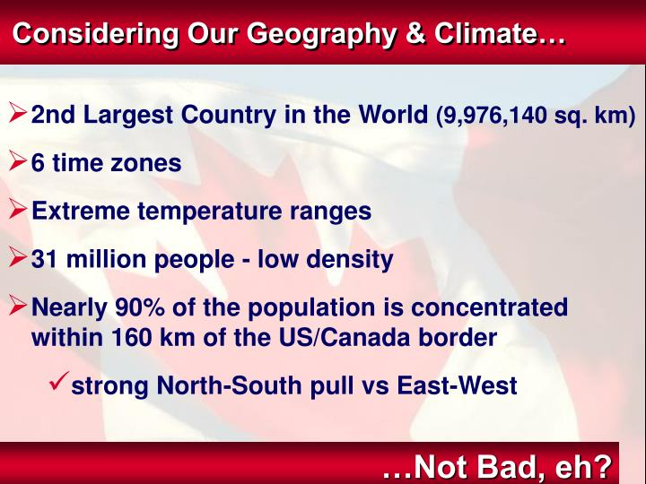 Considering Our Geography & Climate…
