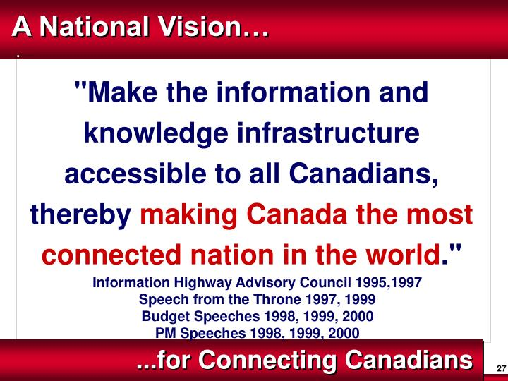A National Vision…