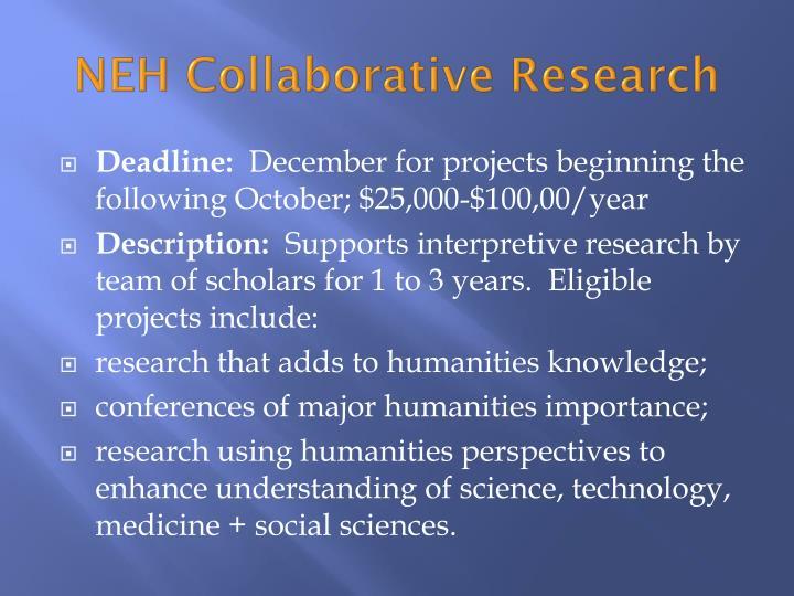 NEH Collaborative Research