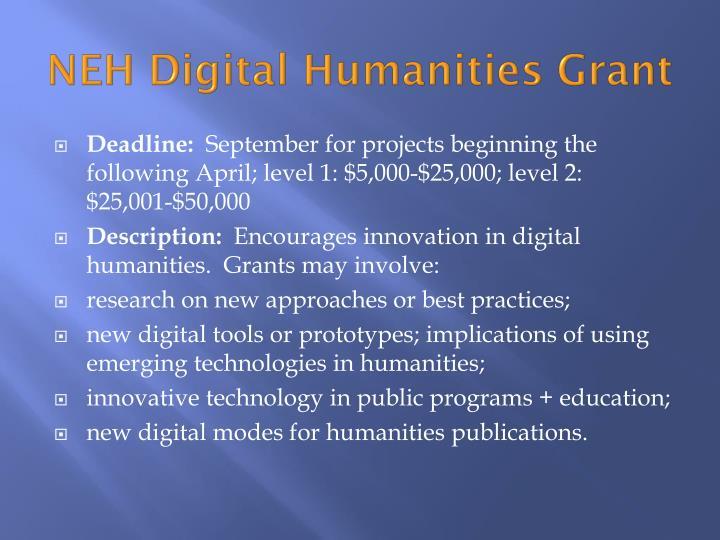 NEH Digital Humanities Grant
