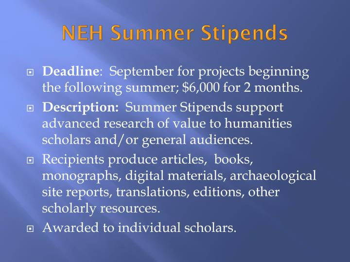 NEH Summer Stipends