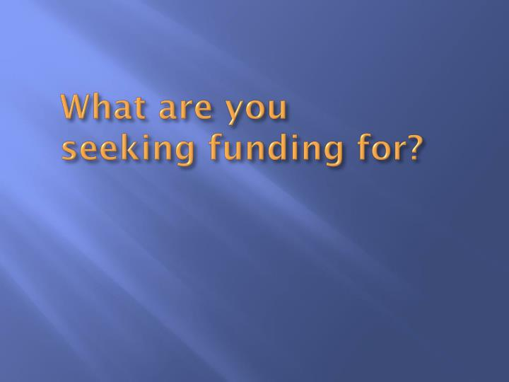 What are you seeking funding for?
