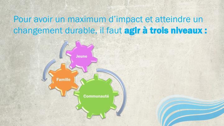 Pour avoir un maximum d'impact et atteindre un changement durable, il faut