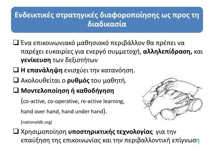 Ένα επικοινωνιακό μαθησιακό περιβάλλον θα πρέπει να παρέχει ευκαιρίες για ενεργό συμμετοχή,