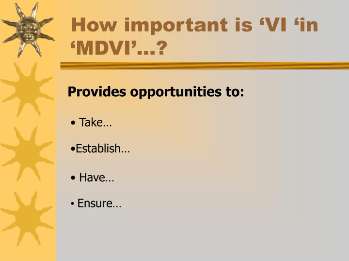 How important is 'VI 'in 'MDVI'…?