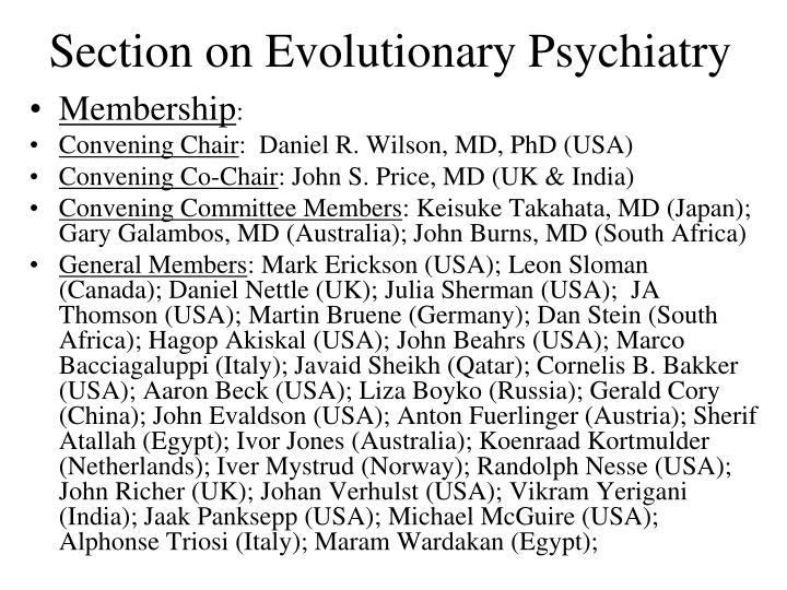 Section on Evolutionary Psychiatry