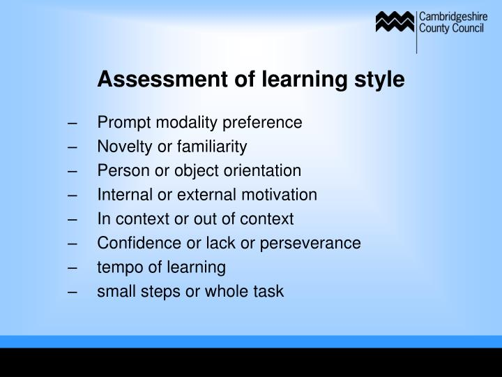 Assessment of learning style