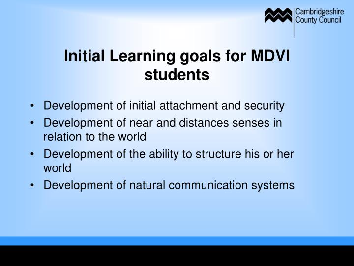 Initial Learning goals for MDVI students