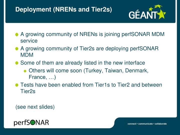Deployment (NRENs and Tier2s)