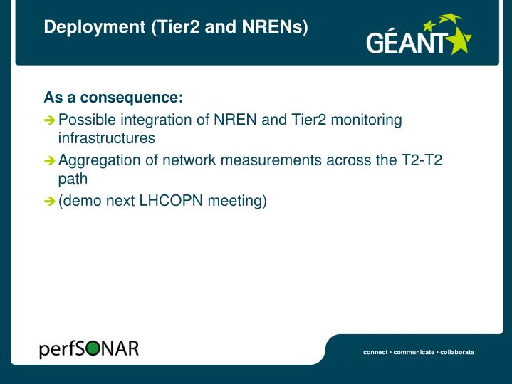 Deployment (Tier2 and NRENs)