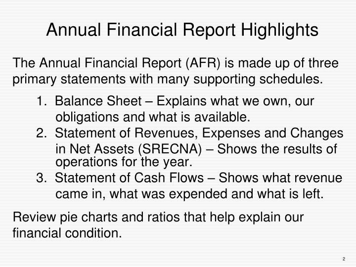 Annual Financial Report Highlights