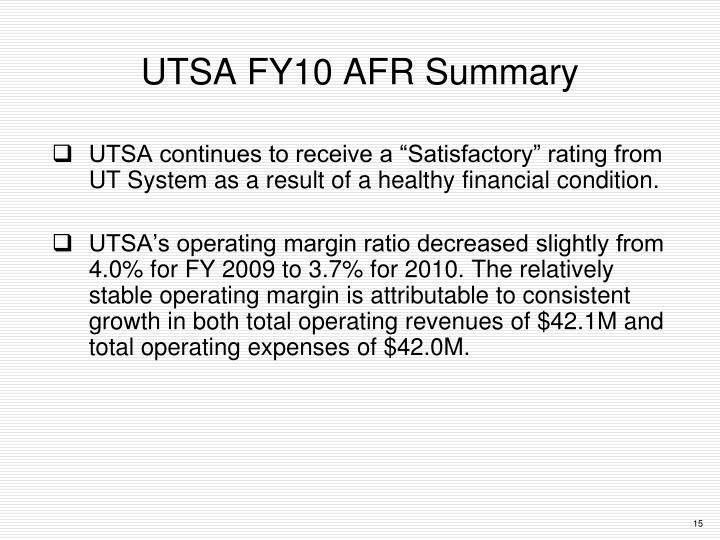 UTSA FY10 AFR Summary