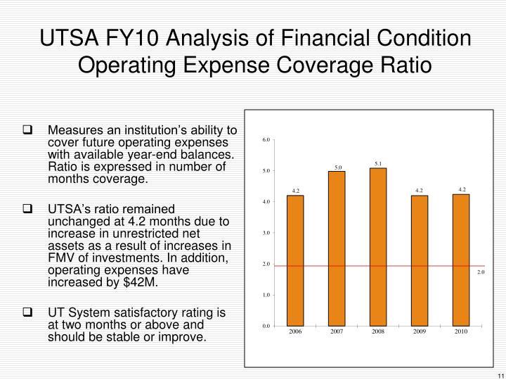 UTSA FY10 Analysis of Financial Condition