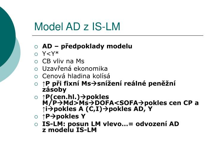 Model AD z IS-LM
