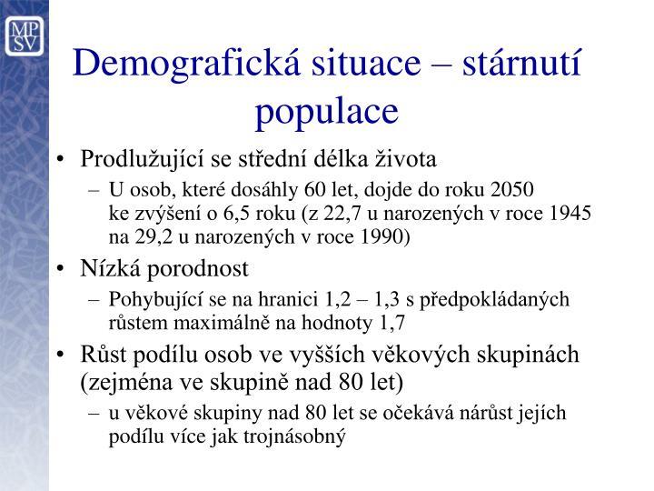 Demografická situace – stárnutí populace
