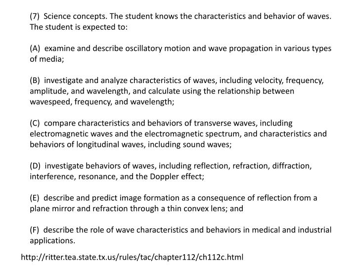 (7)  Science concepts. The student knows the characteristics and behavior of waves. The student is expected to: