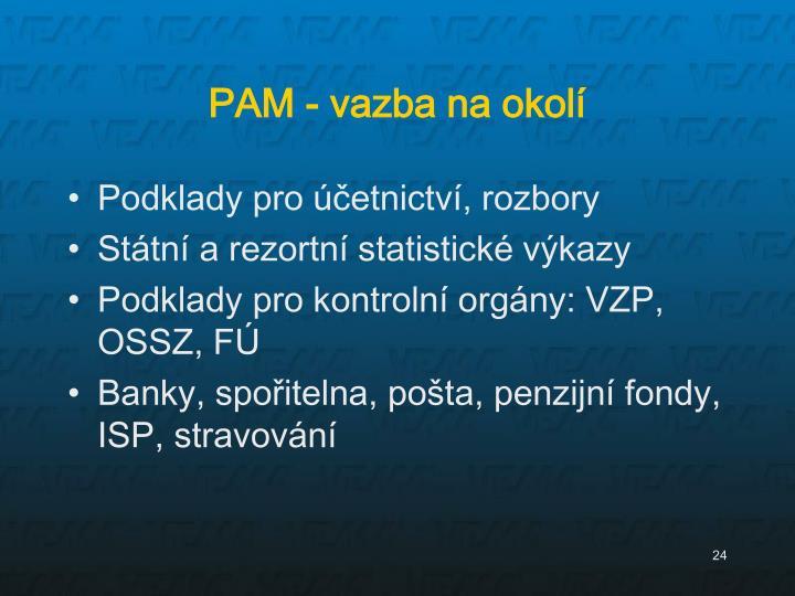 PAM - vazba na okolí