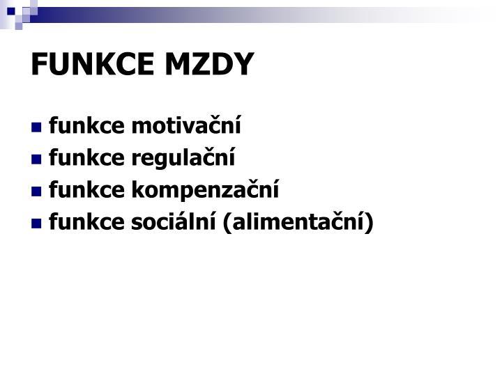FUNKCE MZDY