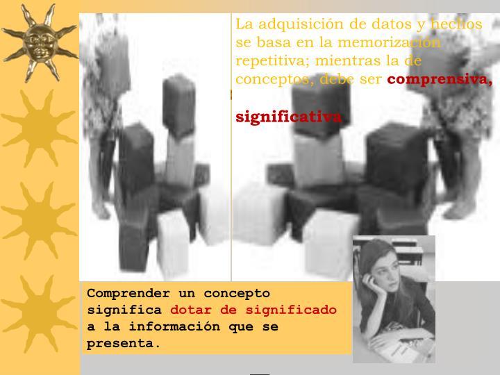 La adquisición de datos y hechos se basa en la memorización repetitiva; mientras la de conceptos, debe ser