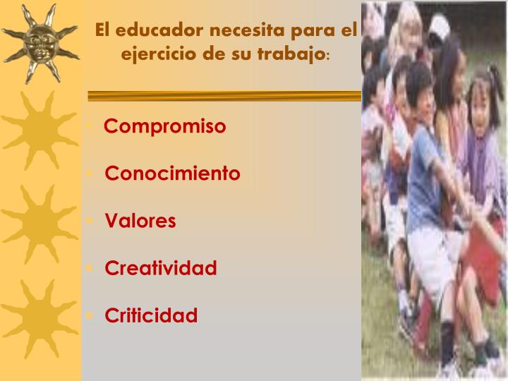 El educador necesita para el ejercicio de su trabajo: