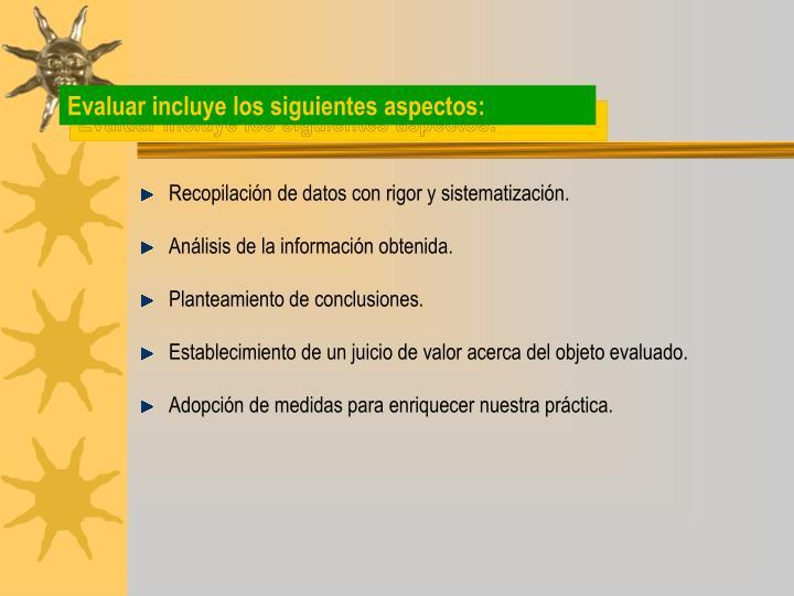 Evaluar incluye los siguientes aspectos: