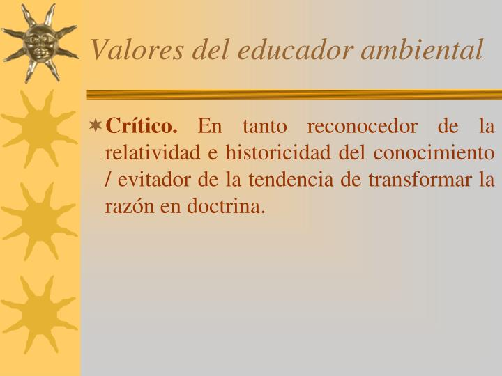 Valores del educador ambiental