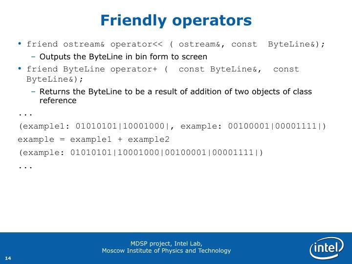 Friendly operators