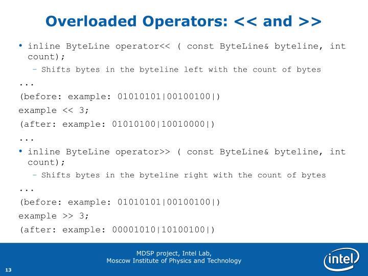 Overloaded Operators: << and >>