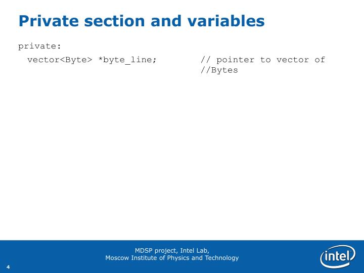 Private section and variables