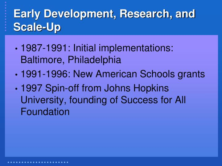 Early Development, Research, and Scale-Up