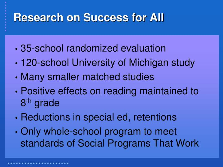 Research on Success for All