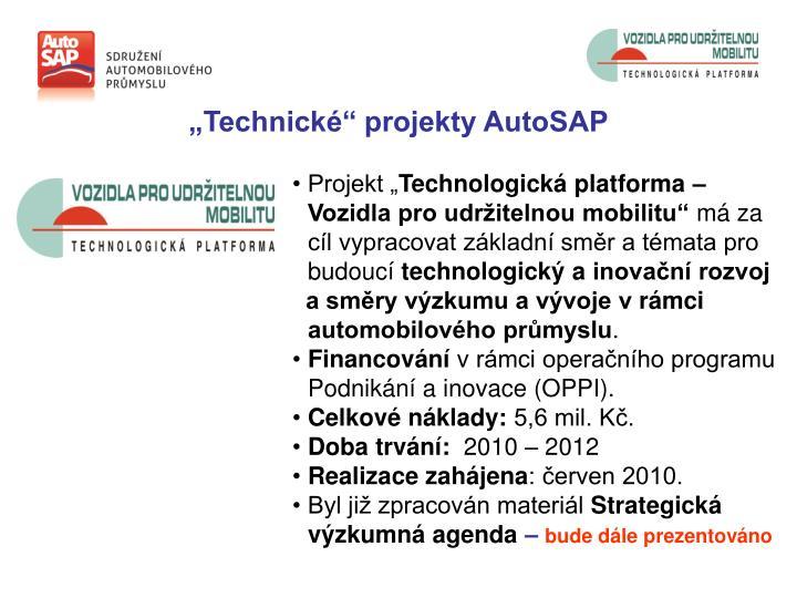 """""""Technické"""" projekty AutoSAP"""