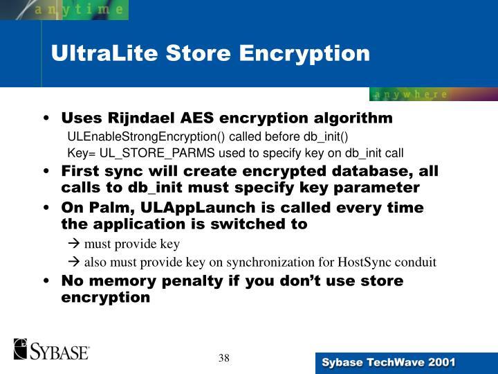 UltraLite Store Encryption