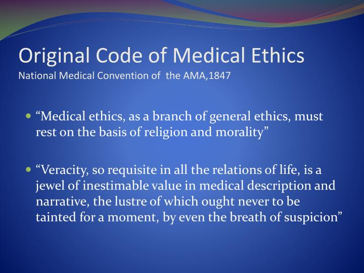 Original Code of Medical Ethics